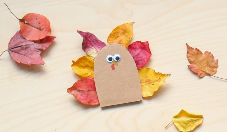 Recycled Leaf Turkey Craft
