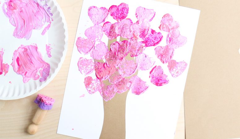 Sponge Stamped Heart Tree Craft