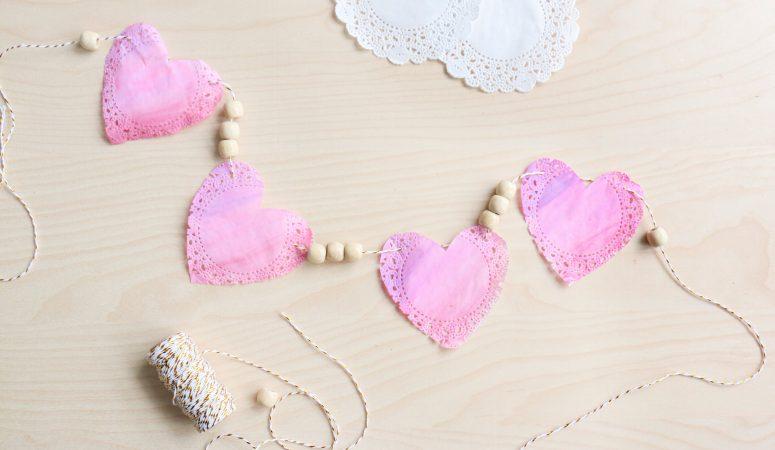 Valentine's Day Doily Garland